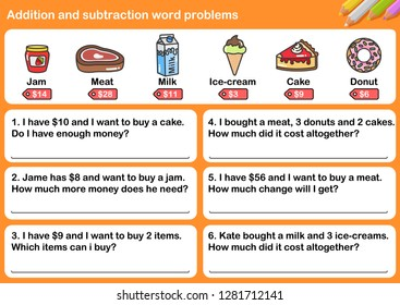 At the supermarket, Addition and Subtraction word problems - Worksheet for education.