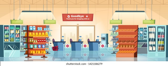 Supermarket background. Grocery store products gastronomy food retail refrigerators inside mall rooms vector cartoon. Illustration of market shop, retail supermarket