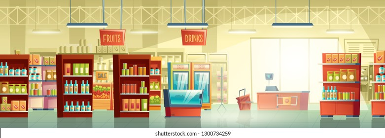 Supermarket or big grocery store trading room interior cartoon vector background with racks full of food products and fruits, fridges with drinks, fish tank and cash counter desk on exit illustration