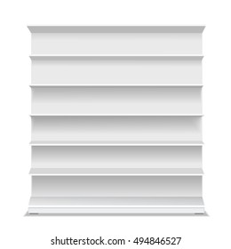 Supermarket blank shelf. Empty white long retail showcase for products on white background. Vector 3D illustration