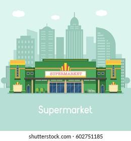 Supermarket building concept vector illustration. Large food store facade on modern city background. Super market or grocery store exterior in flat design.