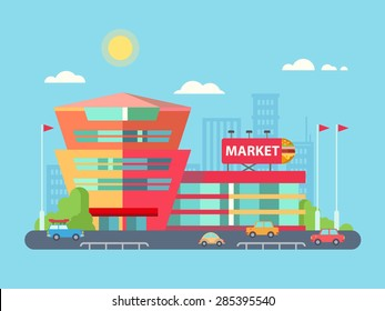 Supermarket building facade with parking in front of it, flat vector illustration.