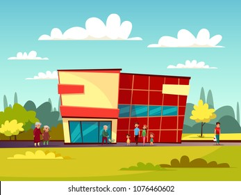Supermarket building facade vector illustration of cartoon trade center and people with shopping carts. Flat design of modern supermarket or shop store, buyers family with children and shopping bags
