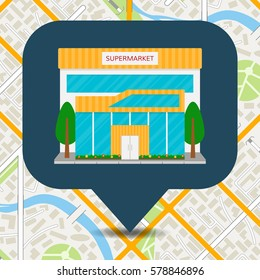 Supermarket building front facade or grocery store icon on city map background. EPS10 vector illustration.