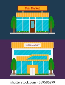 Supermarket building front facade and minimarket grocery store icon. EPS10 vector illustration in flat style.
