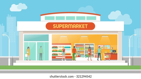 Supermarket building and interior with people buying products on shelves and shopping cart checkout