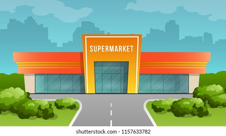 Supermarket building on the city background. Vector image in cartoon flat style. Element of urban infrastructure.