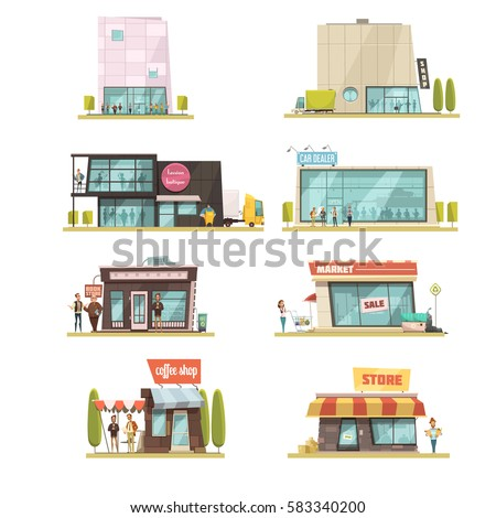 10ad2a957a0 Supermarket building set with coffee shops symbols cartoon isolated vector  illustration - Vector