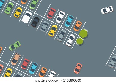 Supermarket car park. Vector parked cars. Simple illustration.