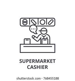 supermarket cashier line icon, outline sign, linear symbol, vector, flat illustration