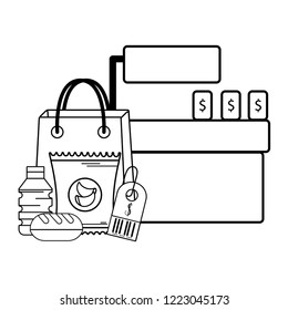 supermarket cashier purchase black and white
