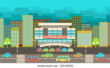 Supermarket. City in the style of flat design. vector