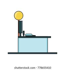 supermarket counter and cash register icon over white background colorful design vector illustration