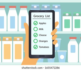 Supermarket. customer's hand holds a mobile phone with a grocery list. Flat design vector illustration. Man or woman is holding shopping list on a background of bottles.