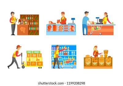 Supermarket departments winery bakery stores with professional sellers vector. Butchers and grocery cashier with clients and products, milk and juices