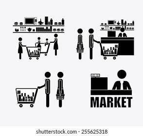 supermarket, desing over, white background, vector ilustration.