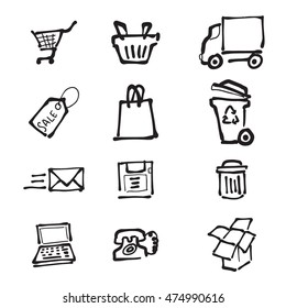 Supermarket direct mail and delivery cartoon drawing icons