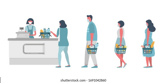 Supermarket during the coronavirus epidemic. Supermarket cashier in medical mask. Buyers wearing antivirus masks keep their distance in line to stay safe. People have food baskets in their hands.