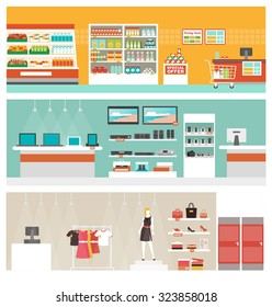 Supermarket, electronics store and clothing shop banner set, retail and commerce concept