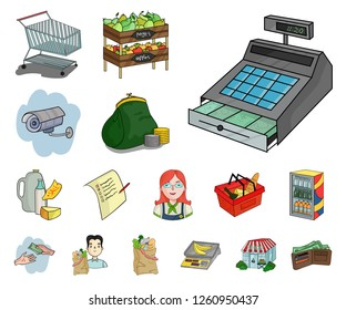 Supermarket and equipment cartoon icons in set collection for design. Purchase of products vector symbol stock web illustration.