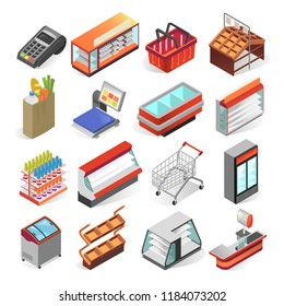 Supermarket equipment and interior business design isometric set. Shop or mall inside display view. Vector 3D illustration on white background