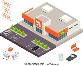 Supermarket exterior, credit cart, pos terminal, box, minimarket, banktomat, woman holding shopping cart. Vector isometric illustration.