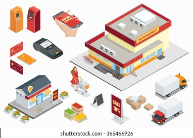 Supermarket exterior, Online shop, credit cart, pos terminal, box, minimarket, banktomat, woman holding shopping cart.  Vector isometric illustration.
