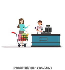 Supermarket female cashier in uniform stands behind cash desk and send receive and credit card return to woman costume. vector illustration isolated on white background