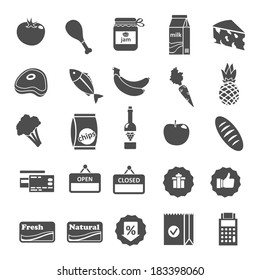 Supermarket food grocery items and symbols icons or stickers set isolated vector illustration