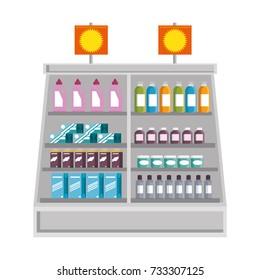 supermarket fridge with products