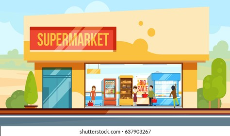 Supermarket in front view with shopping people in checkout line. Seller assistants. Vector illustration in flat style