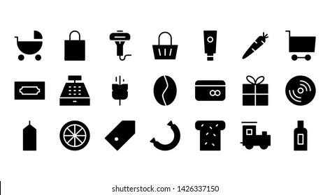 Supermarket glyph icon symbol set