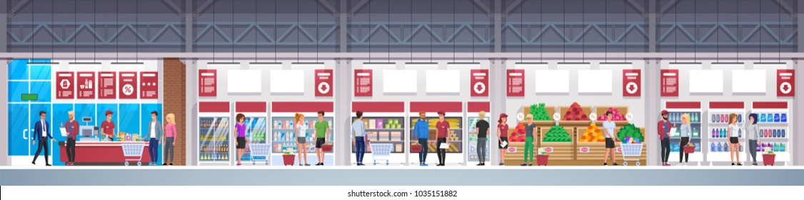 Supermarket with goods. Mall Interior. Big shopping center. Store Interior inside. Scene inside shopping mall. Vector Illustration