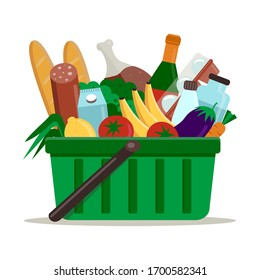 Supermarket green plastic shopping basket full of groceries. Shopping basket with food and drink. Vector illustration, flat style.