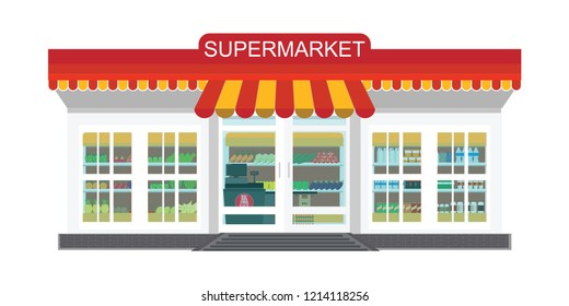 Supermarket grocery store, Supermarket building and interior with fresh food on shelves and counter cashier, Flat vector illustration.