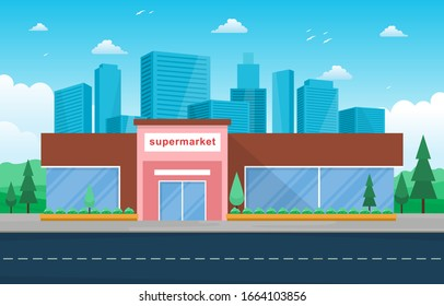 Supermarket Grocery Store Retail Shop Mall City Building Flat Illustration