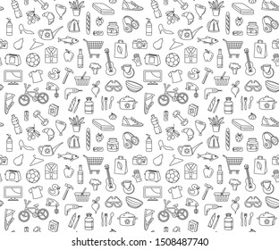 Supermarket hypermarket store food, market products, grocery, appliances, clothes, toys, music, sports seamless thin line icons background pattern. Vector illustration in linear simple style.