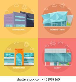 Supermarket icons set. Flat design