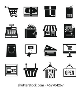 Supermarket icons set. Simple illustration of supermarket vector icons isolated on white background. Cash and desk sings