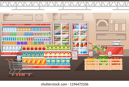 Supermarket illustration. Store interior with goods. Big shopping mall. Shelves, fridge, and carts. Wooden boxes with vegetables. Cash register. Vector illustration.