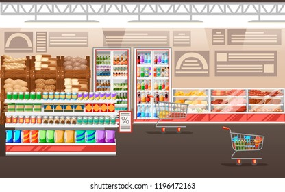 Supermarket illustration. Store interior with goods. Big shopping mall. Shelves, fridge, and carts. Fridge with cheese and meat. Vector illustration.