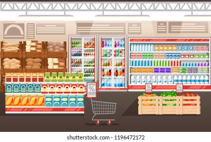 Supermarket illustration. Store interior with goods. Big shopping mall. Shelves, fridge, and carts. Wooden boxes with vegetables. Vector illustration.