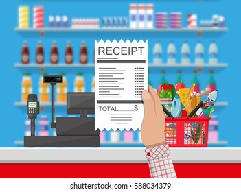 Supermarket interior. Cashier counter workplace. Hand with receipt. Basket with food and drinks. Shelves with products. Cash register, pos terminal and keypad. Vector illustration in flat style