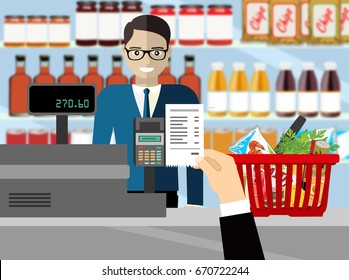 Supermarket interior. Cashier counter workplace. Hand with receipt. Basket with food and drinks. Shelves with products. Cash register, pos terminal and keypad. illustration in flat style