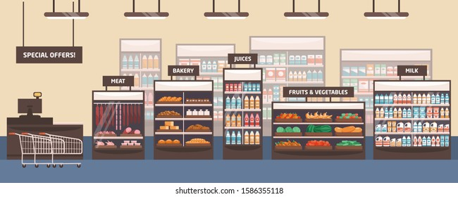 Supermarket interior flat vector illustration. Grocery store, shelves with food products. Cartoon food shop aisle. Bakery, meat, fruits and vegetables, special offers and milk signboards.