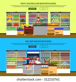 Supermarket interior horizontal banners set with groceries and foodstuff on shelves isolated vector illustration