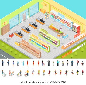 Supermarket interior in Isometric projection. 3D illustration of big trading room with product sections shelves, goods, customers, personnel, sellers, cashes. Consumers and sellers editable isolated