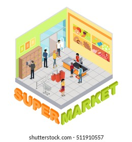 Supermarket interior in isometric projection. Trading room with customers, personal, sellers, shelves, cashes, goods, shopping carts and scales. For store ad, app, game interface. 3D illustration