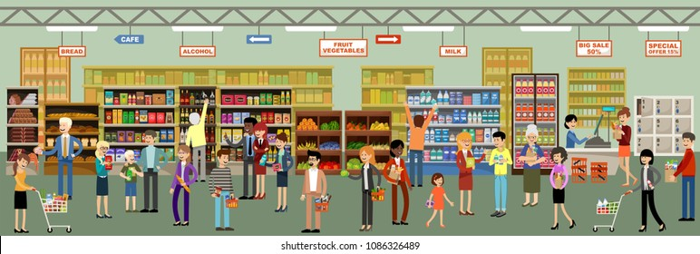 Supermarket interior with people. Vector illustration