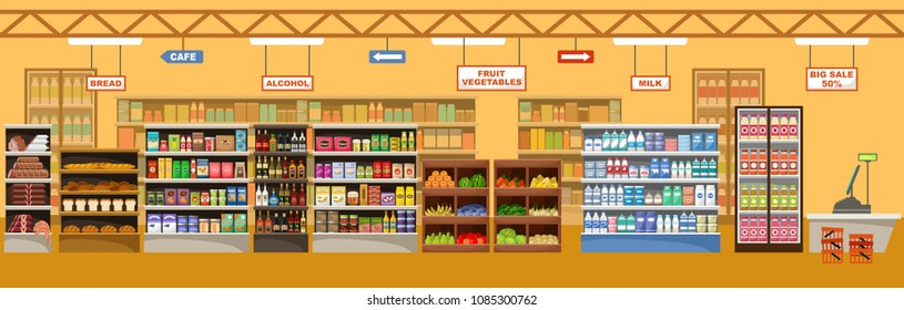 Supermarket interior with products. Big store. Vector illustration